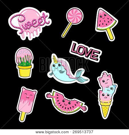 Fashion Patch Stickers Badges With Candies, Watermelon, Love, Cactus, Seal, Ice Cream, Kittens, Cats