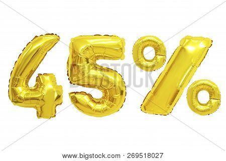 Forty Five Percent From Golden Color Balloons On Isolated Background. Discounts And Sales