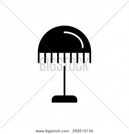 Black & White Vector Illustration Of Nightstand Lamp With Round Lampshade. Flat Icon Of Vintage Desk
