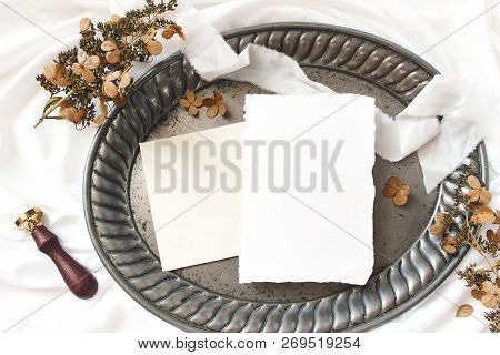 Styled Stock Photo. Winter, Fall Wedding, Birthday Table Composition. Stationery Mockup Scene. Greet