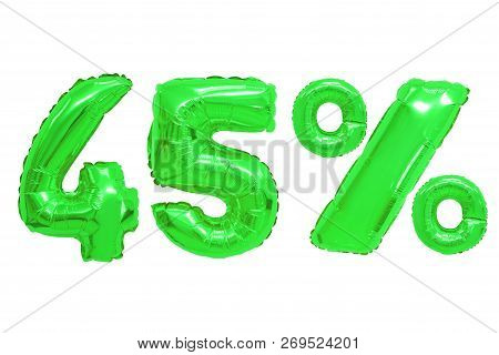 Forty Five Percent From Green Color Balloons On Isolated Background. Discounts And Sales