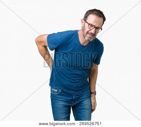 Handsome middle age hoary senior man wearin glasses over isolated background Suffering of backache, touching back with hand, muscular pain