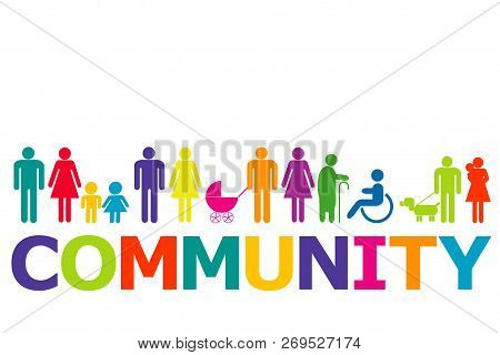 Community Concept With Colored People Pictograms And Word Community