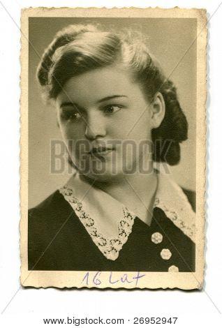 Vintage photo of sixteen years old girl (1941)