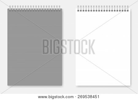 White Blank A6 Size Wire Bound Notebook Template: Page And Grey Cover. Spiral Clear Notepad Vector M