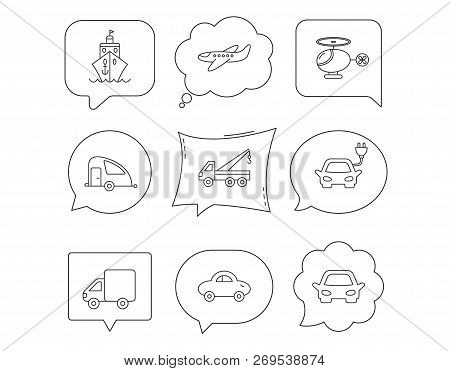 Transportation Icons. Car, Ship And Truck Linear Signs. Airplane, Helicopter And Evacuator Flat Line