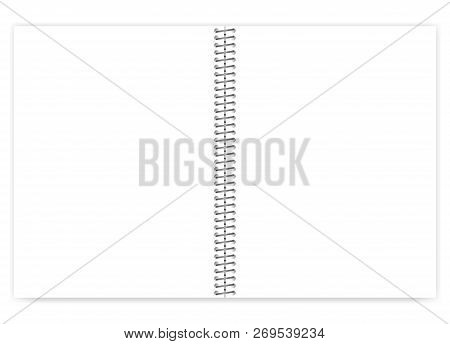 Open Empty Blank Wire Bound Notebook With Metal Spiral, Realistic Vector Mock Up. Loose Leaf White C