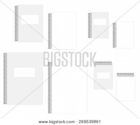 Blank Wire Bound Notebook With Tear Off Sheets, Vector Mockup Set. A4, A5, A6 Size. Empty Spiral Not