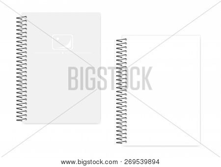 Empty Blank Spiral Notebook With Side Perforation White Clear Sheets, Realistic Vector Mockup. Wire