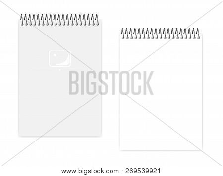 Empty Blank Top Spiral Notebook, Realistic Vector Mock Up. Wire Bound A5 Notepad: Clear White Page A