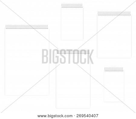 Top Spiral Empty White Notebook Set, Vector Mockup. Wire Bound Blank Notepad, Template. Letter, Half