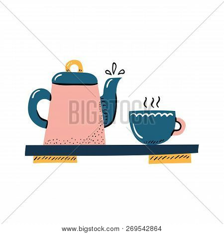 Vector Cartoon Illustration With Porcelain Teapot And Cup. Tea Ceremony Objects. Vector Japanese Tea