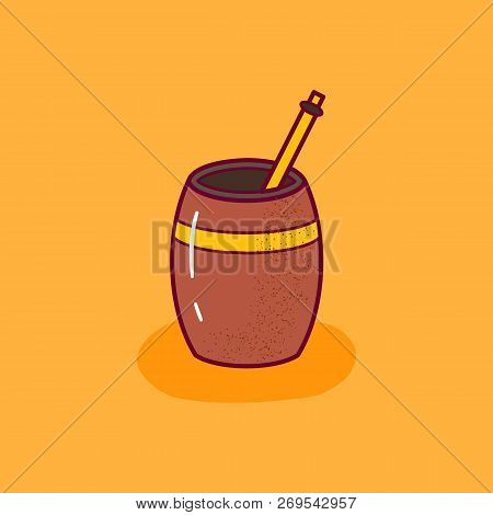 Vector Illustration With Cartoon Isolated Tea Mate On White Background. Green Tea Traditional Bevera
