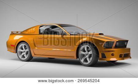 Ekaterinburg, Russia - November 16, 2016. 3d Model  Of American Orage Sport Car On Grey Background.