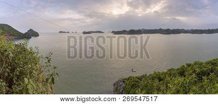 Monkey island panoramic scenario Lan Ha bay, landmark destination, Cat Ba islands (South of Halong bay), Vietnam. poster