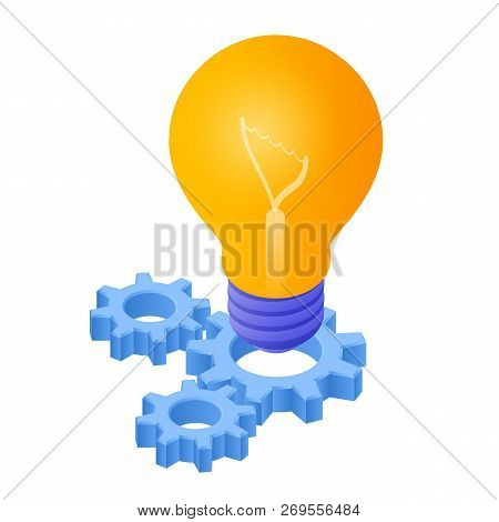 Idea Isometric Icon. Light Bulb With Gears. Lamp Bulb Icon. Created For Mobile, Web, Decor, Print Pr