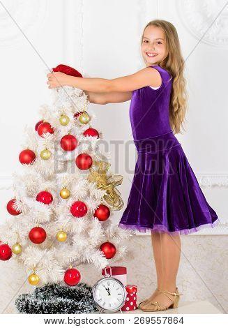 Family Holiday Concept. Girl Velvet Dress Feel Festive Near Christmas Tree. Make This Day Best Holid