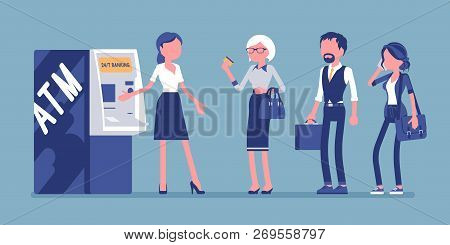 Atm Line And Female Assistant Helping Clients. Consultant Near Automated Teller Machine For Customer