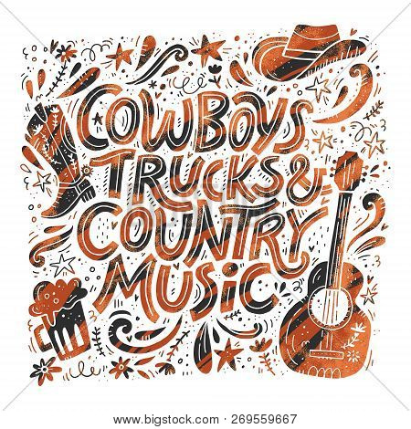 Country Music Festival Retro Poster Vector Template. Hand Drawn Grunge Lettering. Cowboy Fest Banner