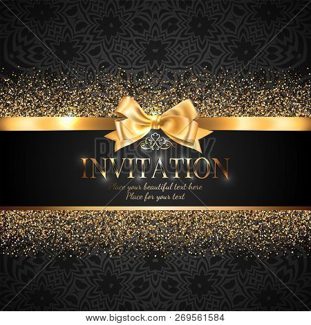 Gorgeous And Shiny Invitation Card Or Banner With Gold Ribbon Bow And Sparkling Golden Glitter On Bl
