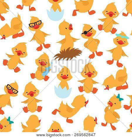 Baby Duck Seamless Pattern. Cute Ducklings Kids Album Vector Wallpaper. Duck Seamless Background, Bi