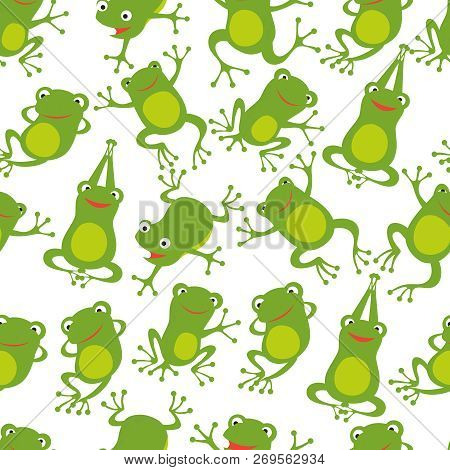 Frog Seamless Pattern. Cartoon Cute Frogs Kids Repeating Texture. Frog Wallpaper Green, Textile Seam