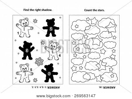 Two Visual Puzzles And Coloring Page For Kids. Find The Shadow For Each Picture Of Teddy Bear. Count