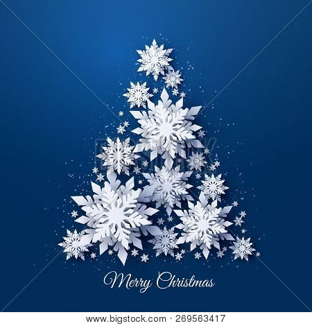 Vector Christmas And Happy New Year Holidays Greeting Card With Christmas Tree Made Of White Realist