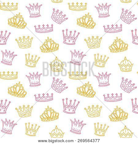 Crown Seamless Pattern. Golden And Pink Crowns For Princess. Newborn Girl Vector Background. Illustr