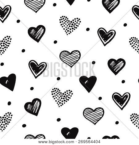 Sketch Hearts Seamless Pattern. Romantic Doodle Love Valentines Day Vector Texture. Illustration Of