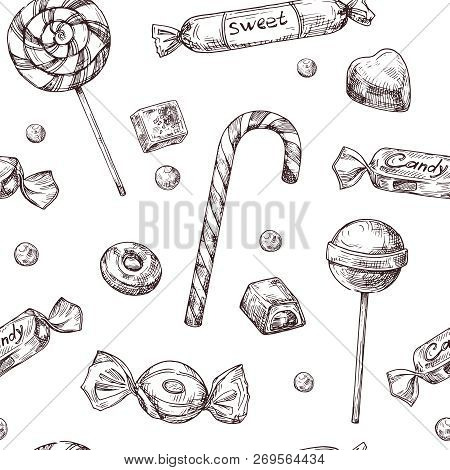 Seamless candy background. Sketch chocolate candy, lollipop and marmalade sweets, hand drawn vector wrapper texrure. Illustration of candy and chocolate candy poster