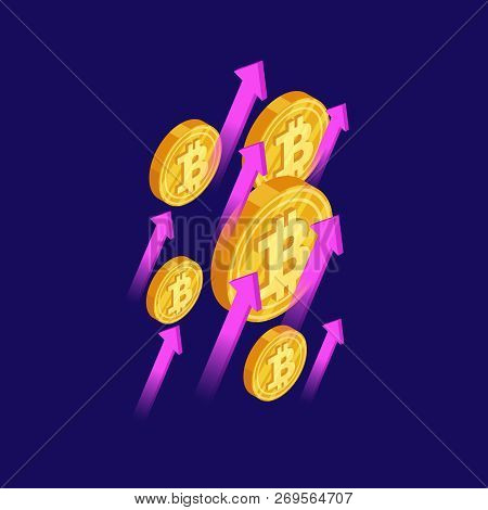 Bitcoin And Cryptocurrency Growth Isometric Vector Concept. Crypto Money Bitcoin, Finance Cryptocurr