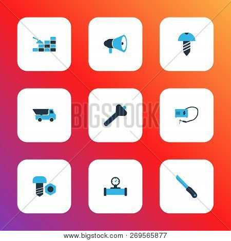 Industry Icons Colored Set With Pipe With Sensor, Bricklaying, Welding And Other Sharp Elements. Iso