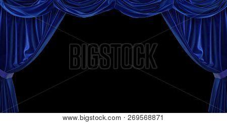 Blue Velvet Curtain On Black Background. 3d Illustration