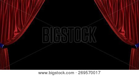 Red Velvet Curtain Open To The Sides, On A Black Background. 3d Illustration