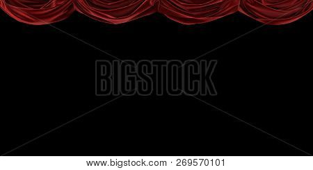 Red Velvet Curtain Raised Up On A Black Background. 3d Illustration