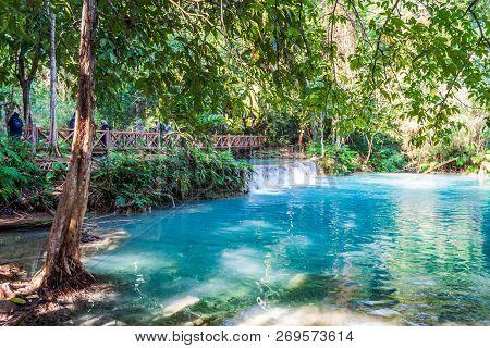 Turquoise Pools At Tat Kuang Si Waterfalls Near Luang Prabang, Laos.