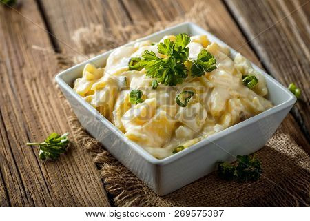 Potato Salad With Yoghurt And Mayonnaise Dressing With Chives.