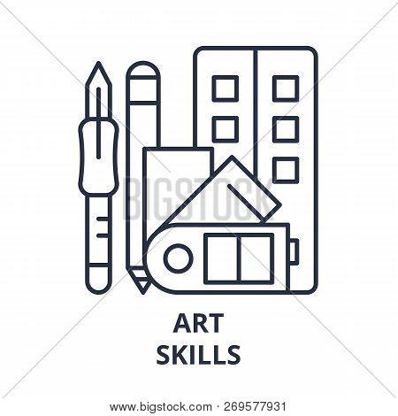 Art Skills Line Icon Concept. Art Skills Vector Linear Illustration, Symbol, Sign