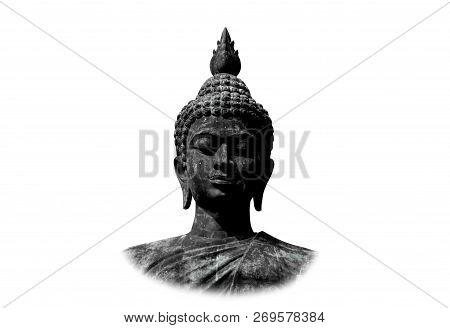 Beautiful Black Stone Buddha Head On White Background.