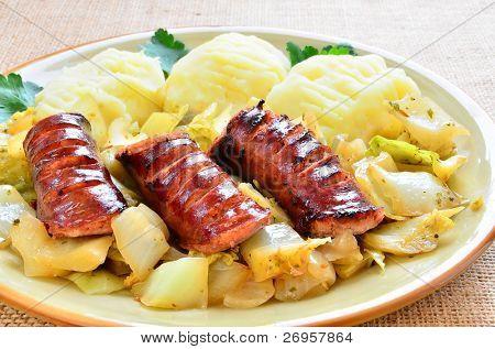 Kielbasa with braised cabbage