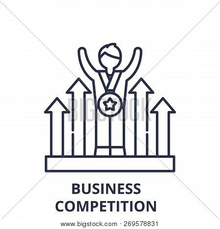 Business Competition Line Icon Concept. Business Competition Vector Linear Illustration, Symbol, Sig