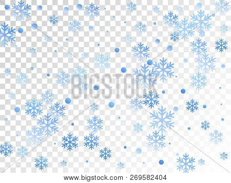 Crystal Snowflake And Circle Elements Vector Graphics. Windy Winter Snow Confetti Scatter Banner Bac