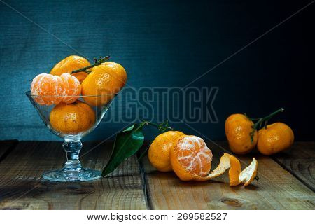 Tangerines (citrus Fruits) With Leaves.