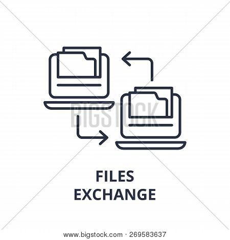 Files Exchange Line Icon Concept. Files Exchange Vector Linear Illustration, Symbol, Sign