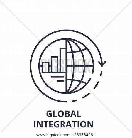 Global Integration Line Icon Concept. Global Integration Vector Linear Illustration, Symbol, Sign