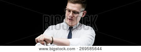 Portrait Of Confident Handsome Ambitious Happy Elegant Responsible Businessman Rolling Up Sleeves On