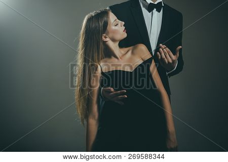 Valentines Day. Love. Cute Man And Woman Are Dating. Loving Couple Together At Business Meeting. Ele