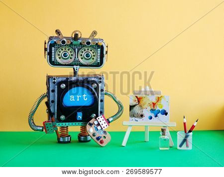 Robot With Pencil Brush And Palette. Handwritten Watercolor Abstract Picture Wooden Easel. Yellow Wa