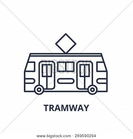 Tramway Line Icon Concept. Tramway Vector Linear Illustration, Symbol, Sign